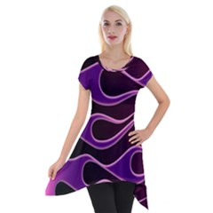Bright Purple Flag Short Sleeve Side Drop Tunic by AnjaniArt