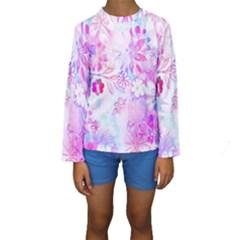 Watercolor fairy flowers Kids  Long Sleeve Swimwear by KirstenStar