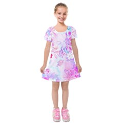 Watercolor Fairy Flowers Kids  Short Sleeve Velvet Dress by KirstenStar