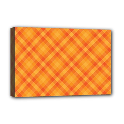 Clipart Orange Gingham Checkered Background Deluxe Canvas 18  X 12   by AnjaniArt