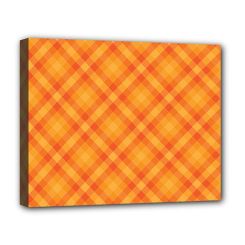 Clipart Orange Gingham Checkered Background Deluxe Canvas 20  X 16   by AnjaniArt