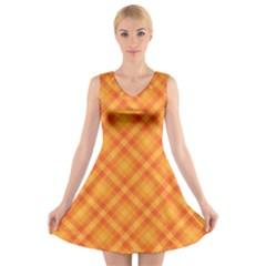 Clipart Orange Gingham Checkered Background V Neck Sleeveless Skater Dress by AnjaniArt