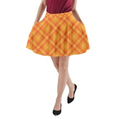 Clipart Orange Gingham Checkered Background A Line Pocket Skirt by AnjaniArt