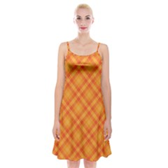 Clipart Orange Gingham Checkered Background Spaghetti Strap Velvet Dress by AnjaniArt