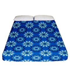 Blue Flower Clipart Floral Background Fitted Sheet (queen Size) by AnjaniArt