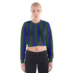 Diamond Alt Blue Green Woven Fabric Women s Cropped Sweatshirt by AnjaniArt