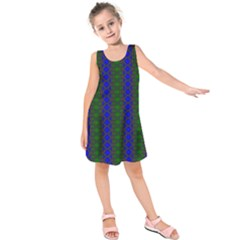 Diamond Alt Blue Green Woven Fabric Kids  Sleeveless Dress by AnjaniArt
