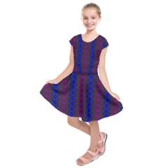 Diamond Alt Blue Purple Woven Fabric Kids  Short Sleeve Dress by AnjaniArt
