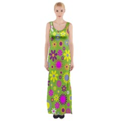 Colorful Floral Flower Maxi Thigh Split Dress by AnjaniArt
