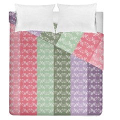 Digital Print Scrapbook Flower Leaf Color Green Gray Purple Blue Pink Duvet Cover Double Side (Queen Size) by AnjaniArt