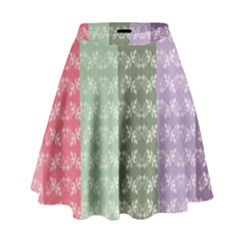 Digital Print Scrapbook Flower Leaf Color Green Gray Purple Blue Pink High Waist Skirt by AnjaniArt