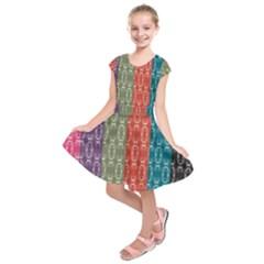 Digital Print Scrapbook Flower Leaf Color Green Red Purple Blue Pink Black Kids  Short Sleeve Dress by AnjaniArt