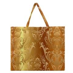 Golden Flower Vintage Gradient Resolution Zipper Large Tote Bag by AnjaniArt