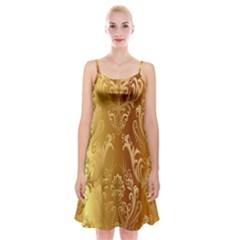 Golden Flower Vintage Gradient Resolution Spaghetti Strap Velvet Dress