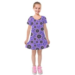 Flower Floral Purple Leaf Background Kids  Short Sleeve Velvet Dress by AnjaniArt