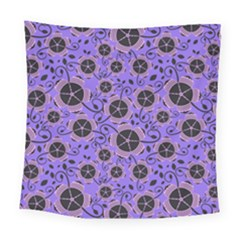 Flower Floral Purple Leaf Background Square Tapestry (large) by AnjaniArt