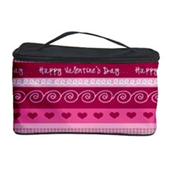 Happy Valentine Day Love Heart Pink Red Chevron Wave Cosmetic Storage Case by AnjaniArt