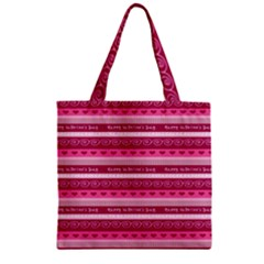 Happy Valentine Day Love Heart Pink Red Chevron Wave Zipper Grocery Tote Bag by AnjaniArt