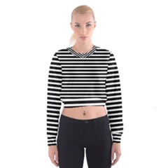 Horizontal Stripes Black Women s Cropped Sweatshirt by AnjaniArt