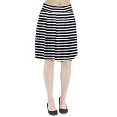 Horizontal Stripes Black Pleated Skirt by AnjaniArt