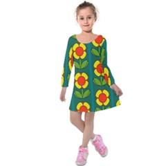 Retro Flowers Floral Rose Kids  Long Sleeve Velvet Dress by AnjaniArt