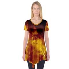 Ablaze Abstract Afire Aflame Blaze Short Sleeve Tunic