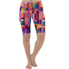 Abstract Background Geometry Blocks Cropped Leggings  by Amaryn4rt