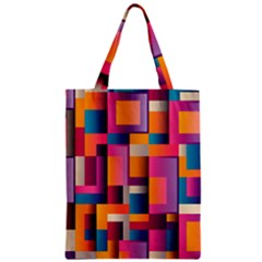 Abstract Background Geometry Blocks Zipper Classic Tote Bag by Amaryn4rt