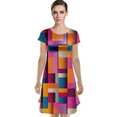 Abstract Background Geometry Blocks Cap Sleeve Nightdress by Amaryn4rt