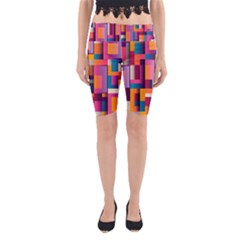 Abstract Background Geometry Blocks Yoga Cropped Leggings by Amaryn4rt
