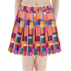 Abstract Background Geometry Blocks Pleated Mini Skirt by Amaryn4rt