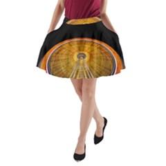 Abstract Blur Bright Circular A Line Pocket Skirt