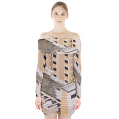 Apartments Architecture Building Long Sleeve Off Shoulder Dress by Amaryn4rt