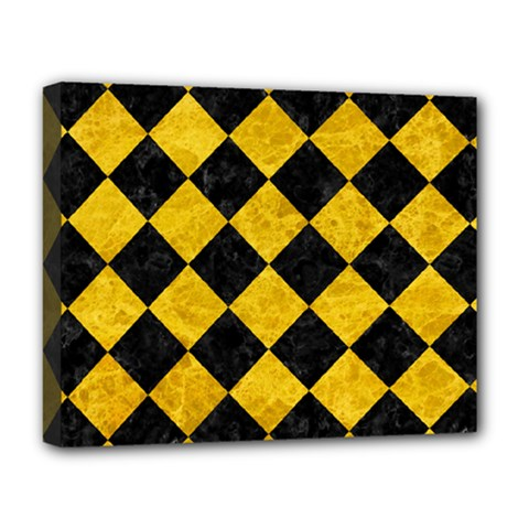 Square2 Black Marble & Yellow Marble Deluxe Canvas 20  X 16  (stretched) by trendistuff