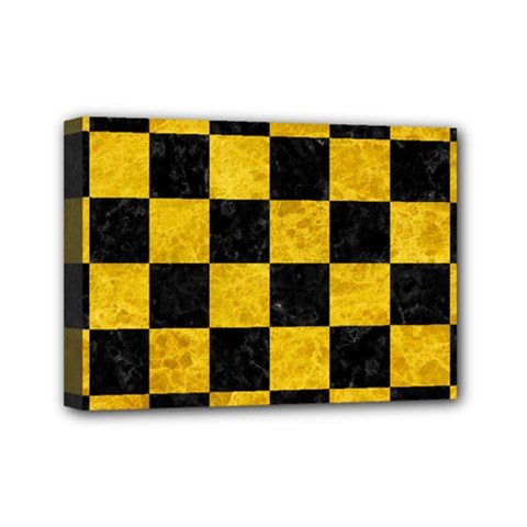 Square1 Black Marble & Yellow Marble Mini Canvas 7  X 5  (stretched) by trendistuff