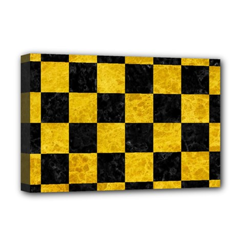 Square1 Black Marble & Yellow Marble Deluxe Canvas 18  X 12  (stretched) by trendistuff