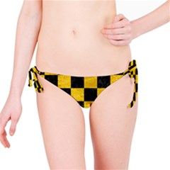 Square1 Black Marble & Yellow Marble Bikini Bottom by trendistuff