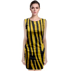 Skin4 Black Marble & Yellow Marble (r) Classic Sleeveless Midi Dress