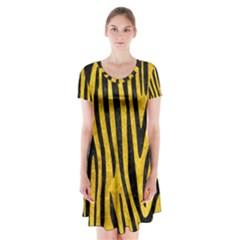 Skin4 Black Marble & Yellow Marble Short Sleeve V Neck Flare Dress by trendistuff