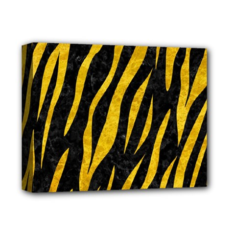 Skin3 Black Marble & Yellow Marble Deluxe Canvas 14  X 11  (stretched) by trendistuff