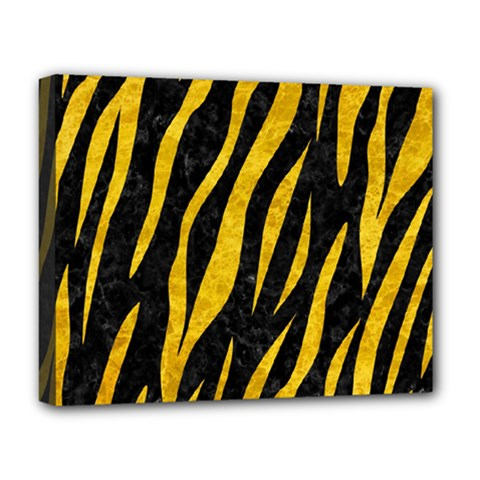 Skin3 Black Marble & Yellow Marble Deluxe Canvas 20  X 16  (stretched) by trendistuff