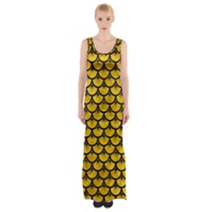 Scales3 Black Marble & Yellow Marble (r) Maxi Thigh Split Dress by trendistuff