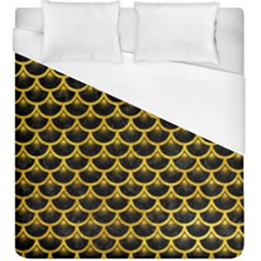 Scales3 Black Marble & Yellow Marble Duvet Cover (king Size) by trendistuff