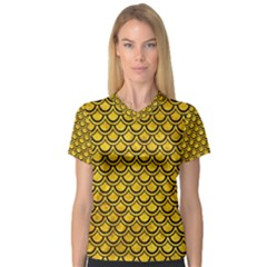 Scales2 Black Marble & Yellow Marble (r) V Neck Sport Mesh Tee
