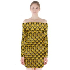 Scales2 Black Marble & Yellow Marble (r) Long Sleeve Off Shoulder Dress