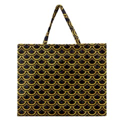 Scales2 Black Marble & Yellow Marble Zipper Large Tote Bag by trendistuff