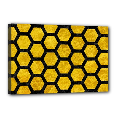 Hexagon2 Black Marble & Yellow Marble (r) Canvas 18  X 12  (stretched) by trendistuff