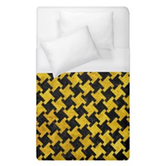 Houndstooth2 Black Marble & Yellow Marble Duvet Cover (single Size) by trendistuff