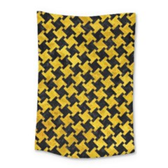 Houndstooth2 Black Marble & Yellow Marble Small Tapestry