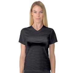 Black Pattern Sand Surface Texture Women s V Neck Sport Mesh Tee